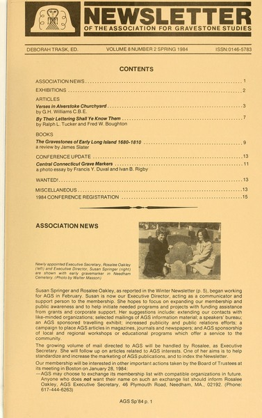 Newsletter of the Association for Gravestone Studies, 1984