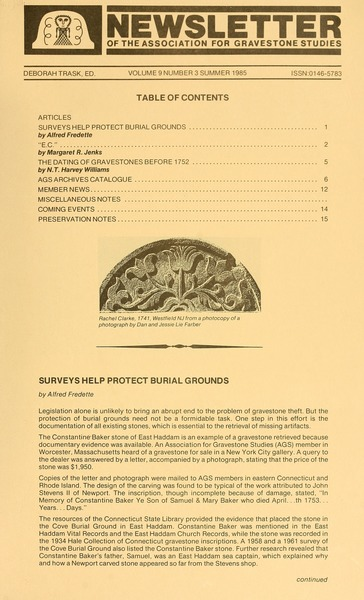 Newsletter of the Association for Gravestone Studies, 1985
