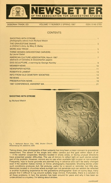 Newsletter of the Association for Gravestone Studies, 1987