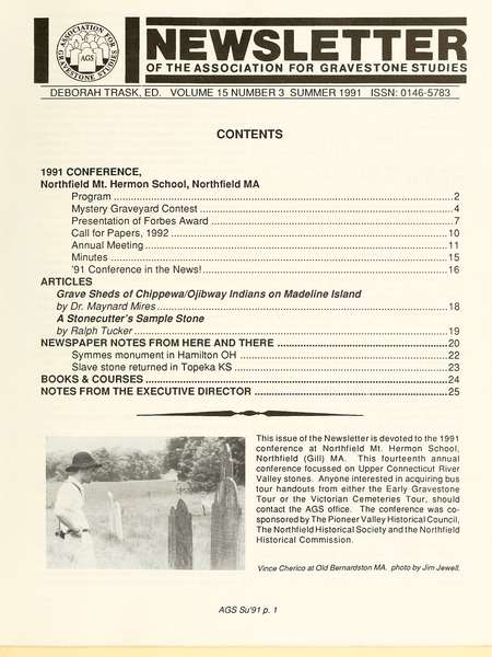 Newsletter of the Association for Gravestone Studies, 1991