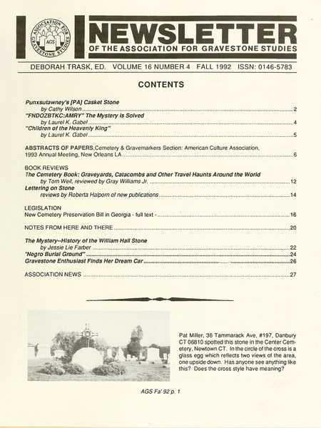 Newsletter of the Association for Gravestone Studies, 1992