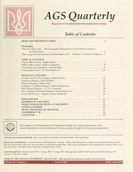 Newsletter of the Association for Gravestone Studies, 1998