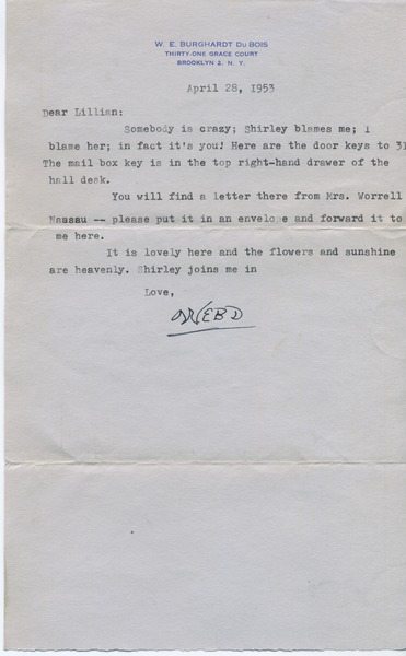 Letter from W. E. B. Du Bois to Lillian Hyman, April 28, 1953