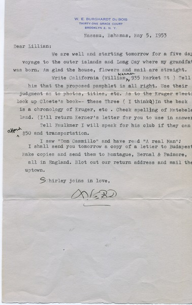 Letter from W. E. B. Du Bois to Lillian Hyman, May 5, 1953