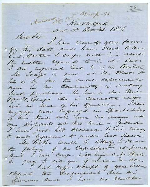 Letter from J. D. Elroy to Joseph Lyman, November 1, 1856