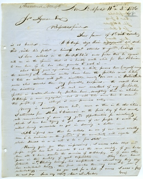 Letter from Edward L. Baker to Joseph Lyman, November 3, 1856