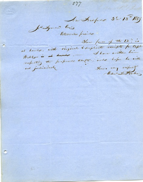 Letter from Edward L. Baker to Joseph Lyman, March 13, 1857