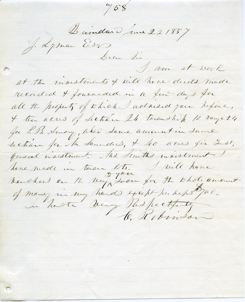 Letter from Charles Robinson to Joseph Lyman, June 22, 1857