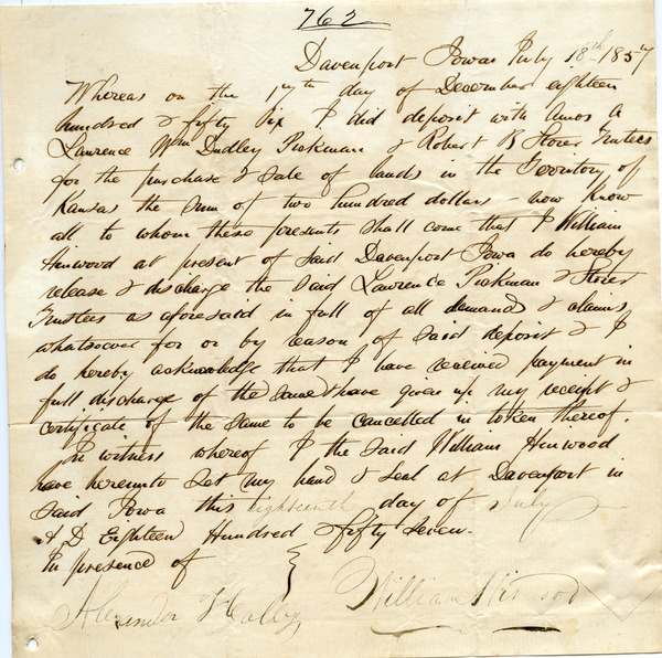 Letter from Alexander Heally and William Hinwood to Joseph Lyman, July 18, 1857