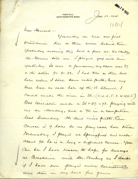 Letter from Frank Lyman to Howard A. Dalton, June 18, 1926