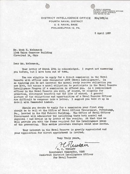 Letter from District Intelligence Office to Mark H. McCormack, April 3, 1957