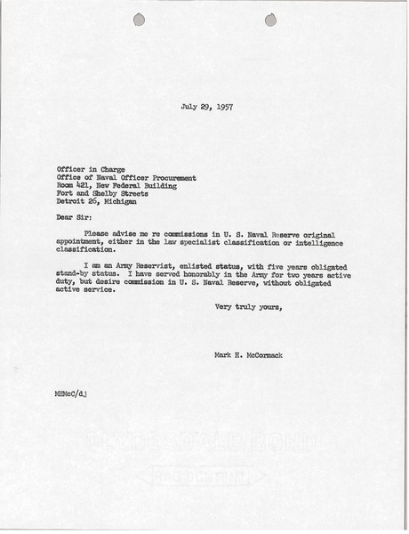 Letter from Mark H. McCormack to Office of Naval Officer Procurement, July 29, 1957