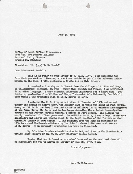Letter from Mark H. McCormack to Office of Naval Officer Procurement, July 31, 1957