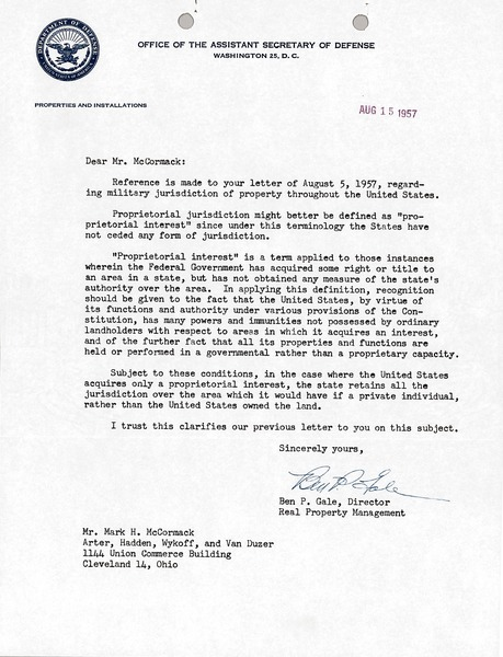 Letter from Office of the Assistant Secretary of Defense to Mark H. McCormack, August 15, 1957