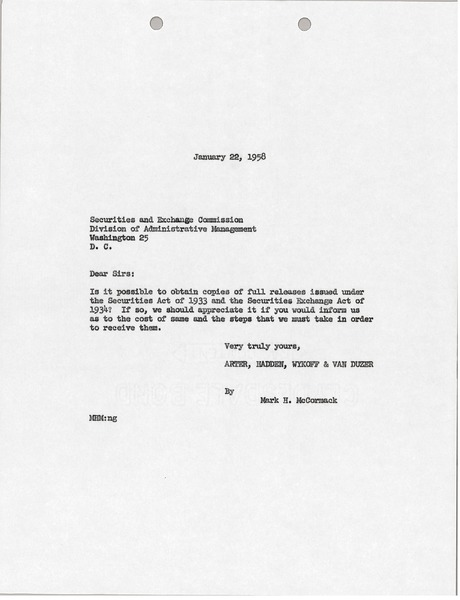 Letter from Mark H. McCormack to U.S. Securities and Exchange Commission, January 22, 1958
