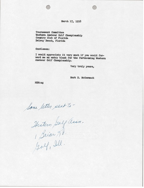 Letter from Mark H. McCormack to Western Amateur Golf Championship, March 17, 1958