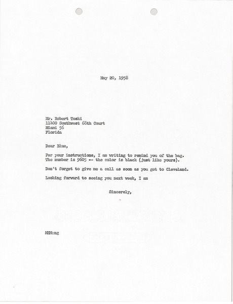 Letter from Mark H. McCormack to Bob Toski, May 20, 1958