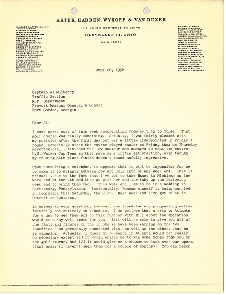 Letter from Mark H. McCormack to Al Mulberry, June 20, 1958