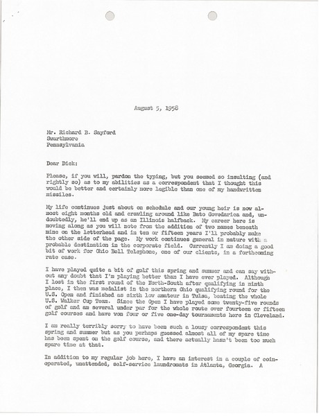 Letter from Mark H. McCormack to Richard B. Sayford, August 5, 1958