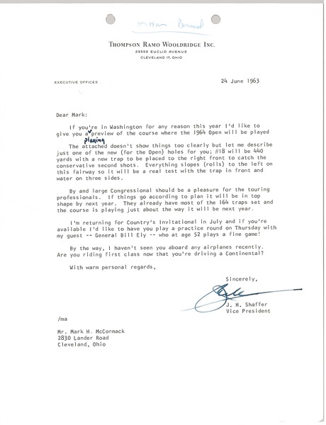 Letter from J. H. Shaffer to Mark H. McCormack, June 24, 1963