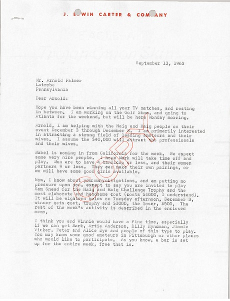 Letter from J. Edwin Carter to Arnold Palmer, September 13, 1963