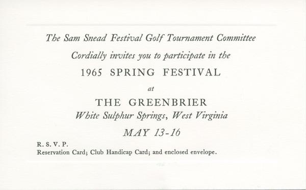 Greenbrier sam snead spring festival invitation card ca april 1 1965 stopboris Gallery