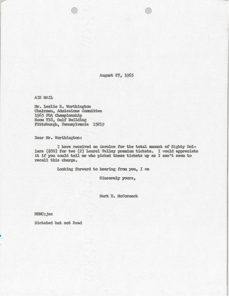 Letter from Mark H. McCormack to 1965 PGA Championship, August 27, 1965