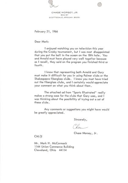 Letter from Chase Morsey to Mark H. McCormack, February 21, 1966