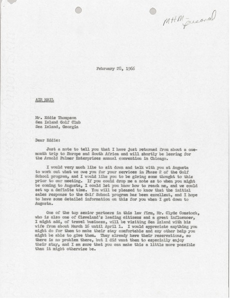 Letter from Mark H. McCormack to Sea Island Golf Club, February 28, 1966