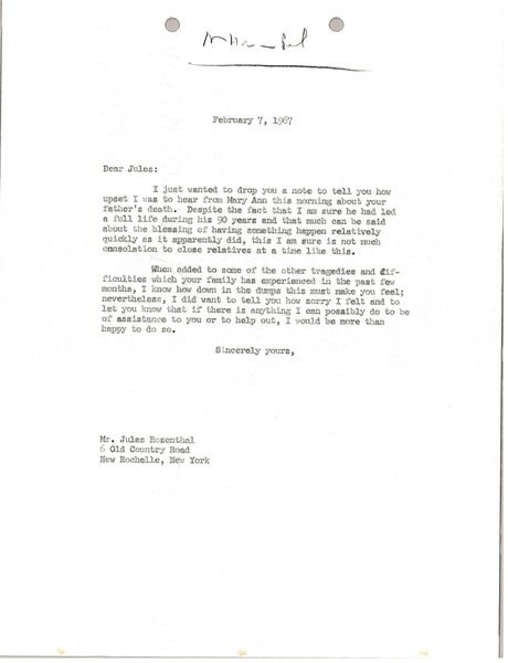 Letter from Mark H. McCormack to Jules Rosenthal, February 7, 1967