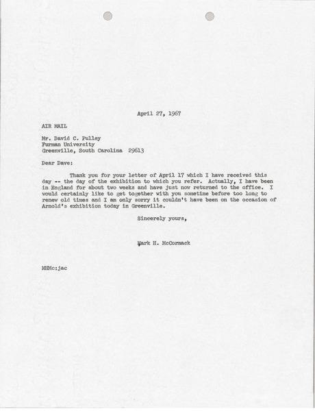 Letter from Mark H. McCormack to David C. Pulley, April 27, 1967