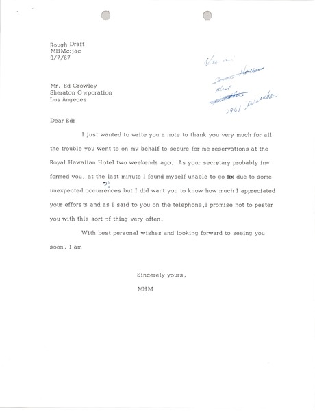 Letter from Mark H. McCormack to Sheraton Corporation, September 7, 1967