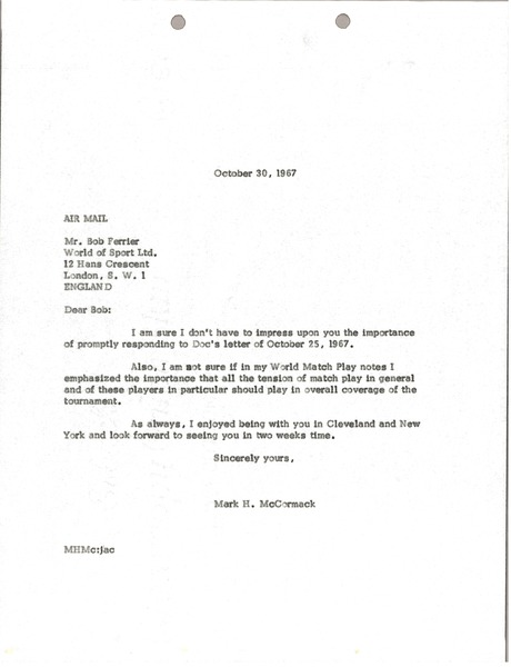 Letter from Mark H. McCormack to World of Sport Limited, October 30, 1967