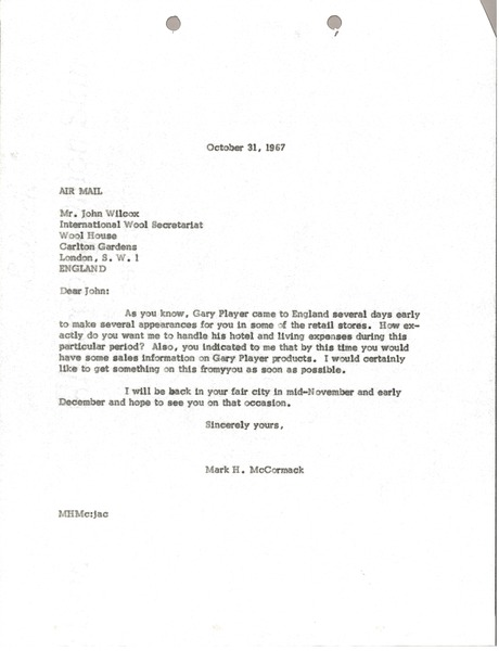 Letter from Mark H. McCormack to Wool House, October 31, 1967