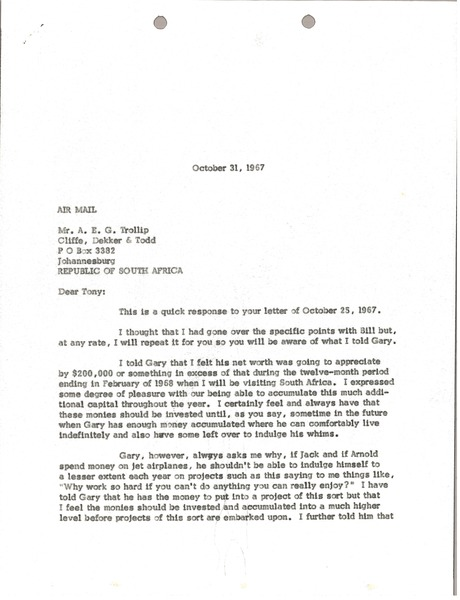 Letter from Mark H. McCormack to Anthony E. G. Trollip, October 31, 1967