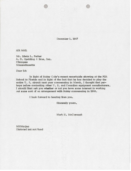 Letter from Mark H. McCormack to A.G. Spalding and Brothers, Incorporated, December 1, 1967