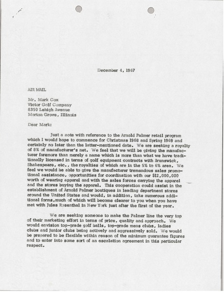 Letter from Mark H. McCormack to Victor Golf Company, December 4, 1967
