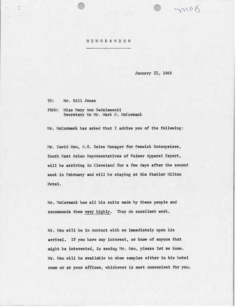 Letter from Mary Ann Badalamenti to Bill Jones, January 22, 1968