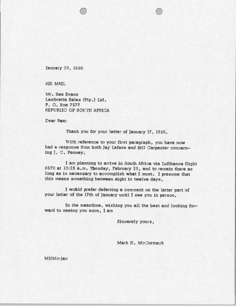 Letter from Mark H. McCormack to Rex Evans, January 29, 1968