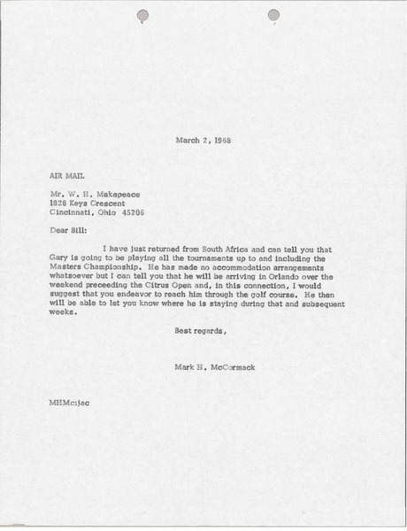 Letter from Mark H. McCormack to W. H. Makepeace, March 2, 1968