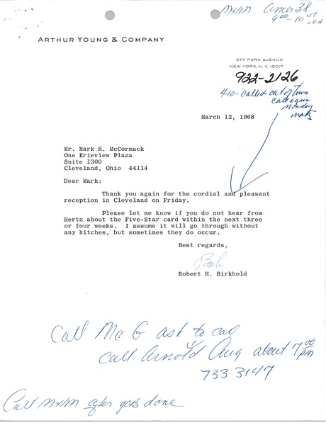 Letter from Robert H. Birkhold to Mark H. McCormack, March 8, 1968