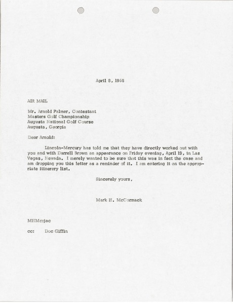 Letter from Mark H. McCormack to Arnold Palmer, April 8, 1968