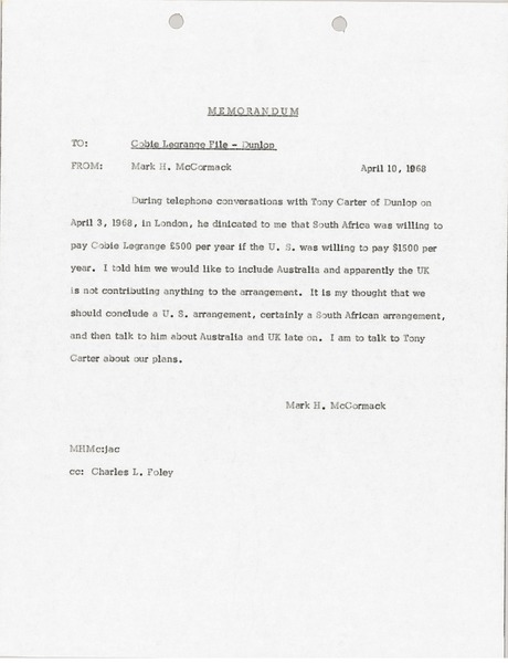 Memorandum to Cobie Legrange File, April 10, 1968