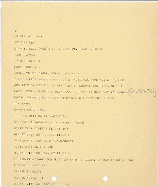 Telex printout from Mary Ann Badalamenti to Gary Player, August 21, 1968