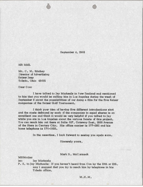 Letter from Mark H. McCormack to C. M. Ritchey, September 4, 1968