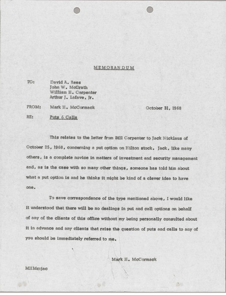 Memorandum from Mark H. McCormack to David A. Rees, October 31, 1968