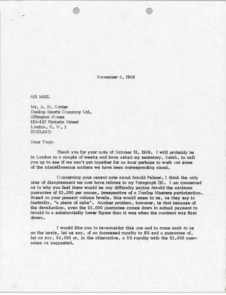 Letter from Mark H. McCormack to Anthony H. Carter, November 6, 1968