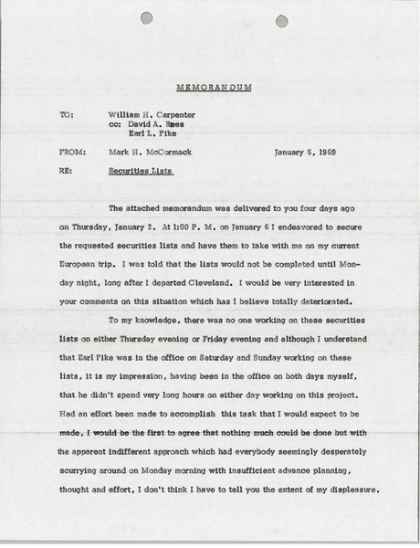 Memorandum from Mark H. McCormack to William H. Carpenter, January 6, 1969