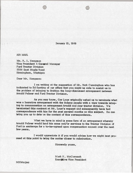 Letter from Mark H  McCormack to R  J  Hampson, January 13, 1969