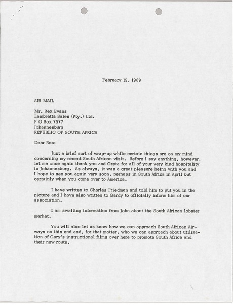 Letter from Mark H. McCormack to Rex Evans, February 15, 1969